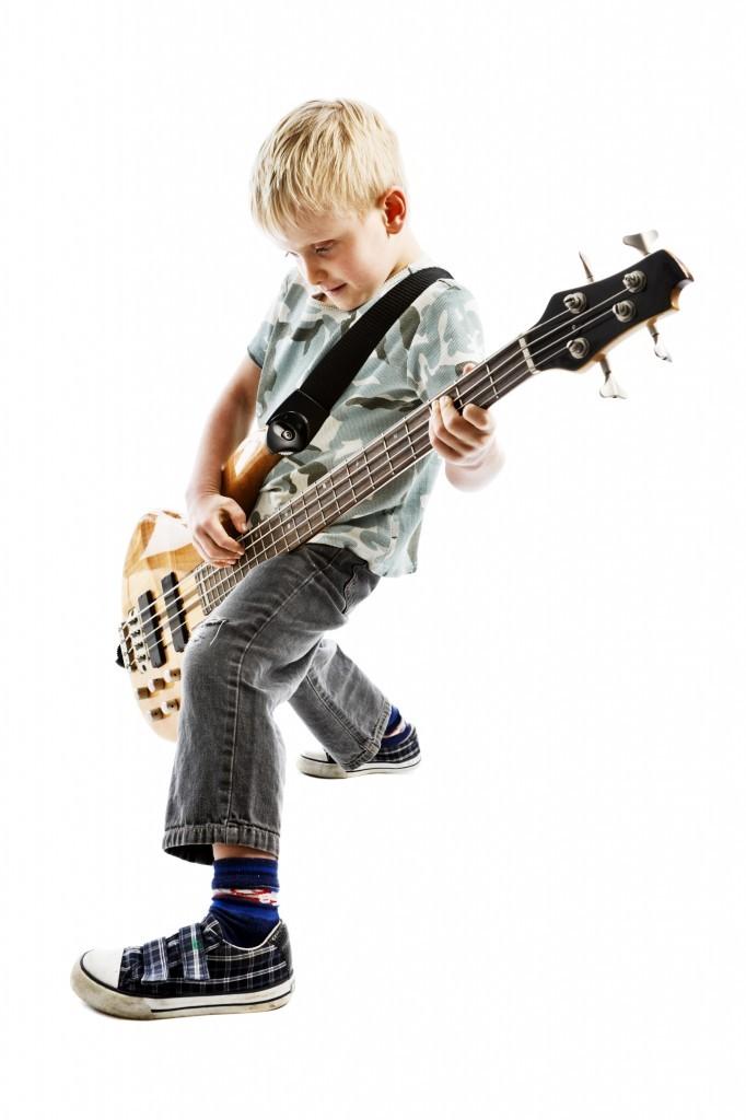 Kid playing the Bass - Music Makers Calgary